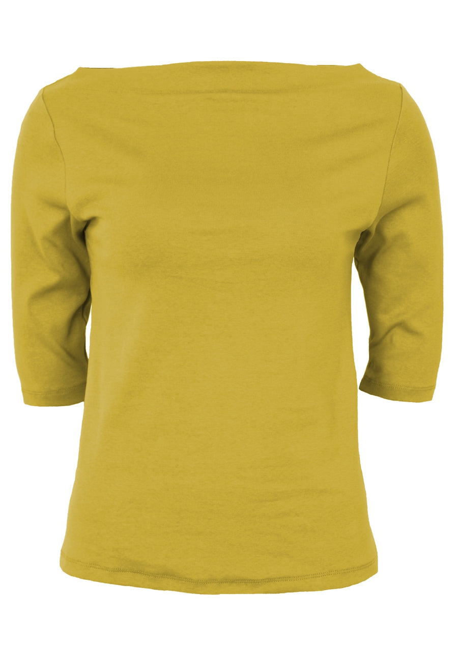 Stretch Cotton Wide Neck Top Chartreuse