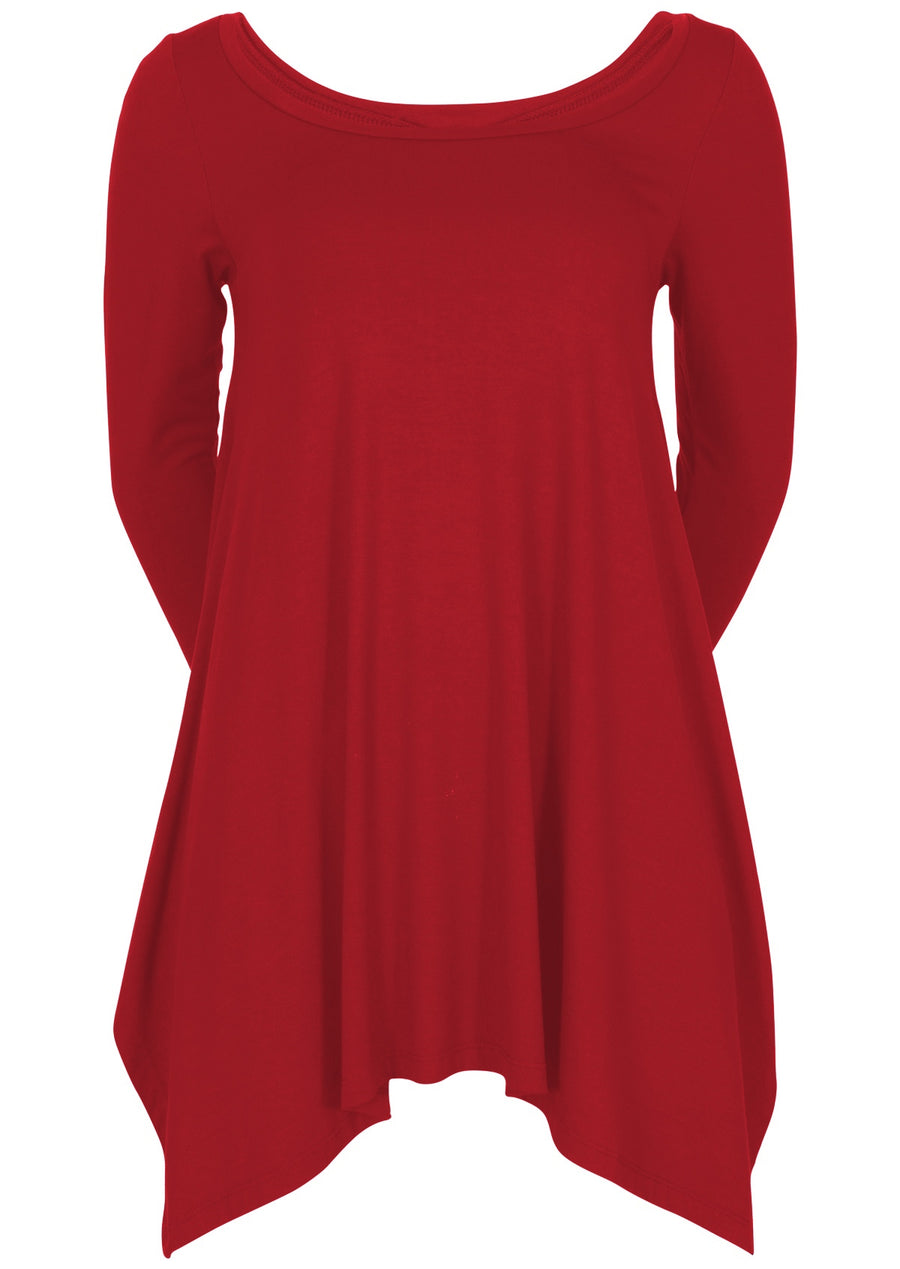 3/4 Sleeve Loose Fitted Top Cherry Red