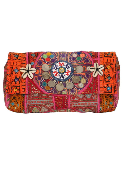 Boho Banjara Clutch Orange | Karma East Australia