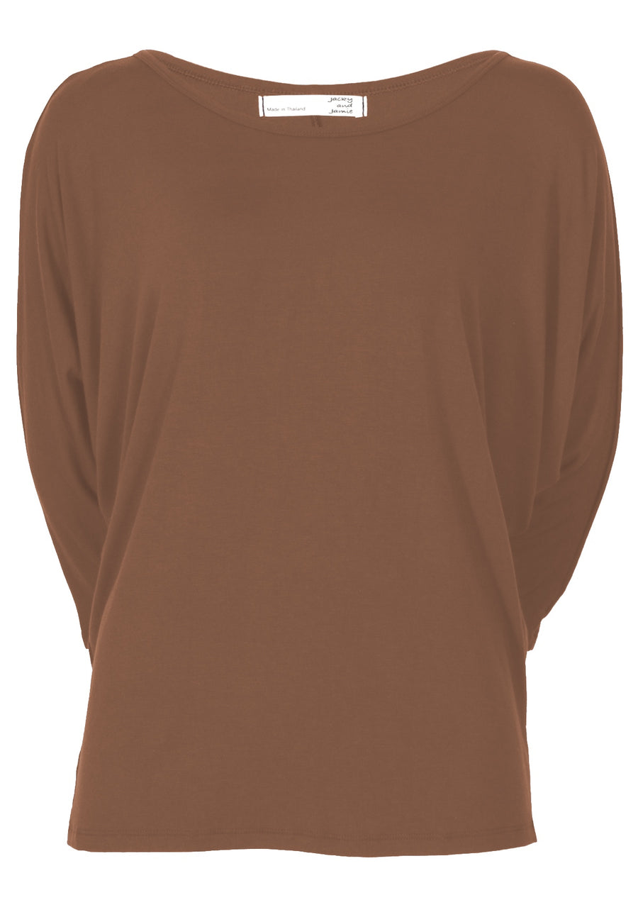 3/4 Sleeve Batwing Top Cocoa