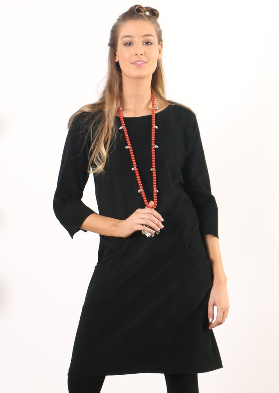 3/4 Sleeve Cord Dress Black