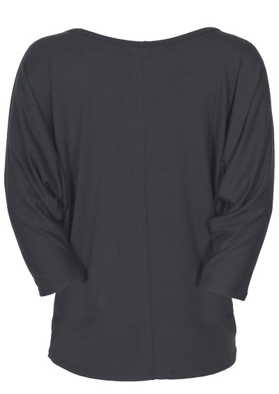 3/4 Sleeve Batwing Top Dark Grey
