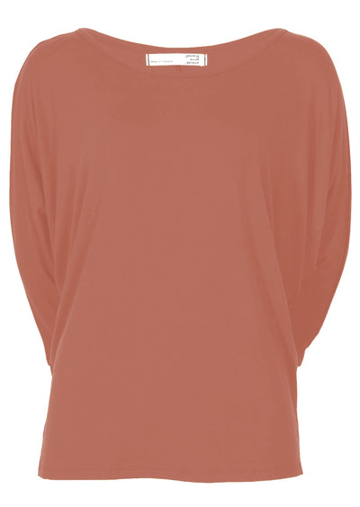 3/4 Sleeve Batwing Top Dusty Rose
