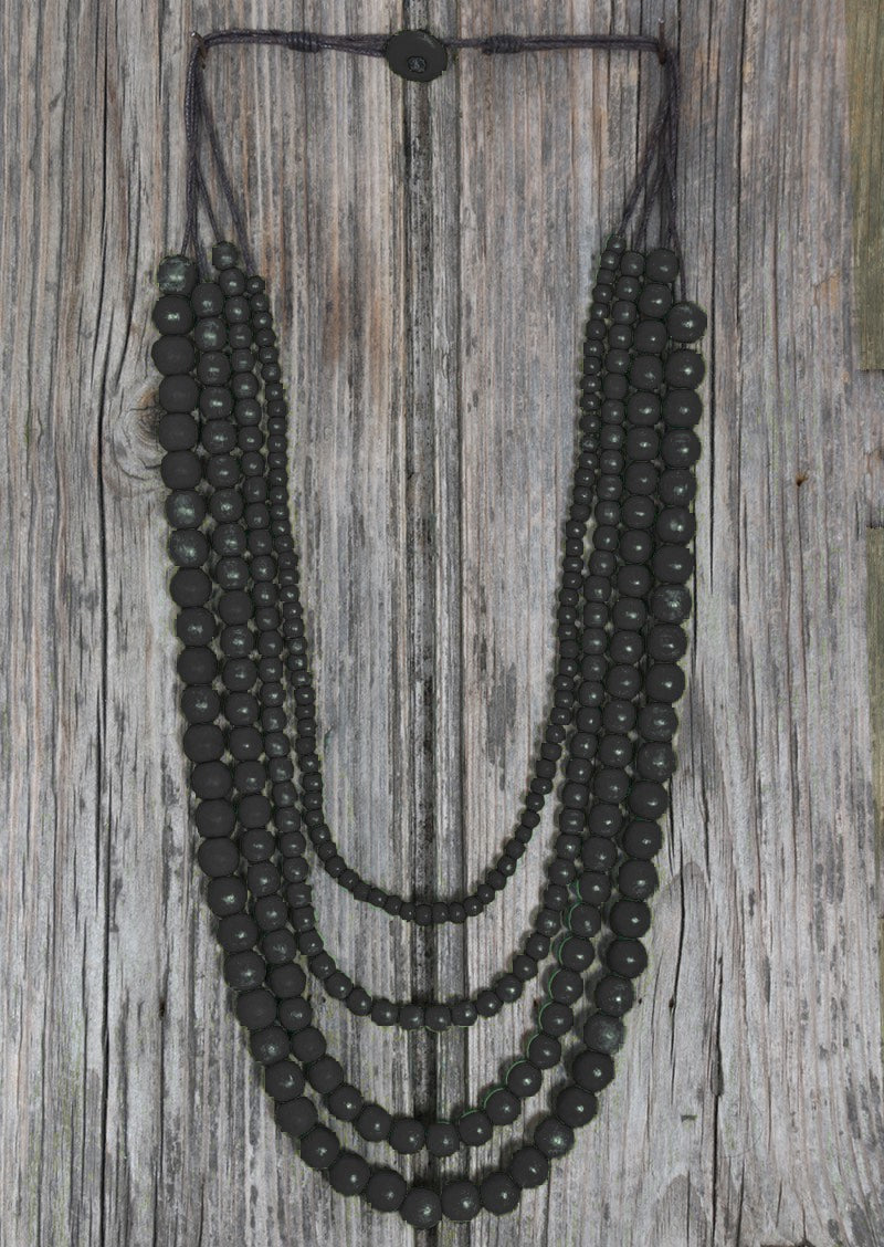 Layered Bead Necklace Black | Karma East Australia