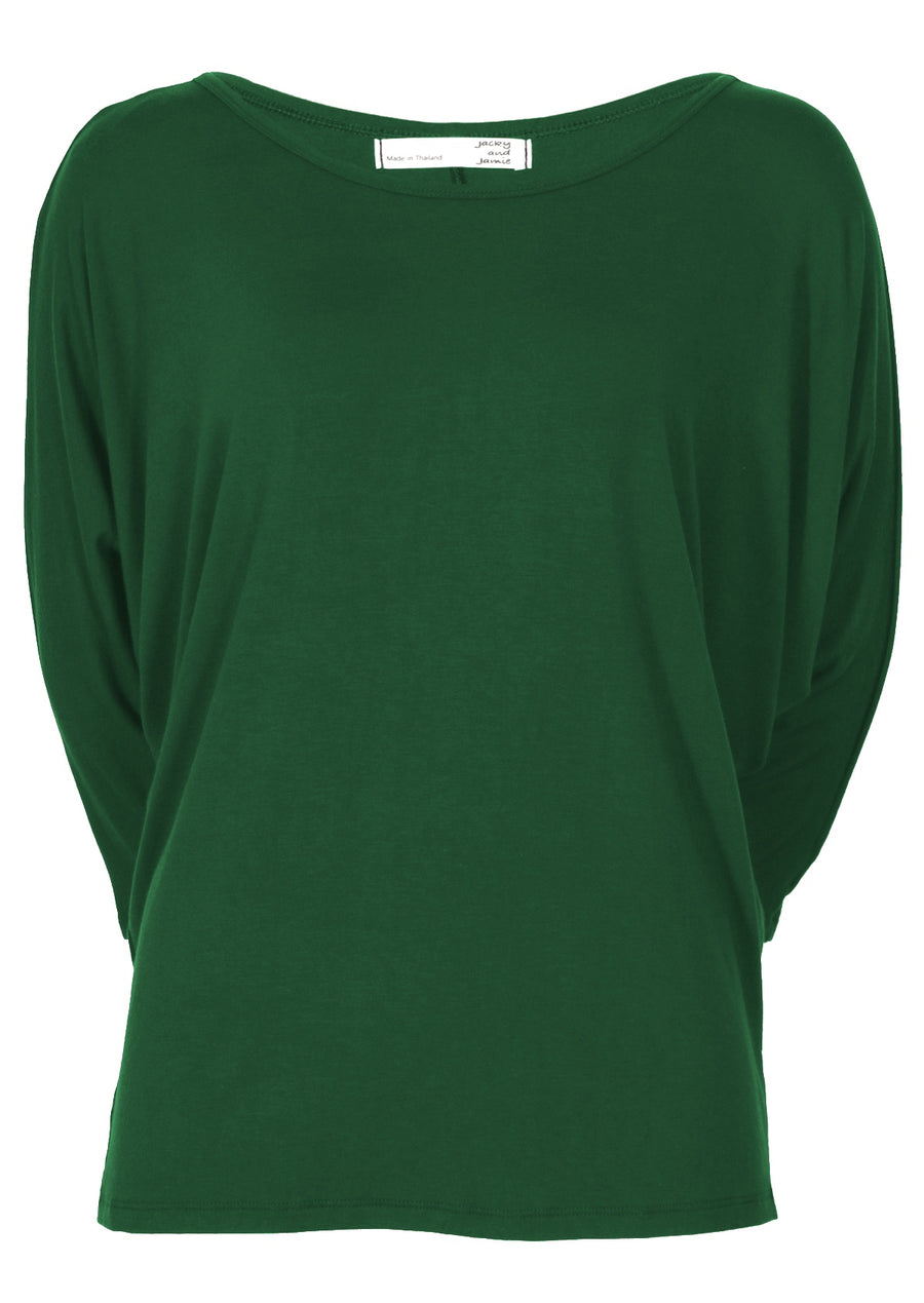 3/4 Sleeve Batwing Top Forest Green