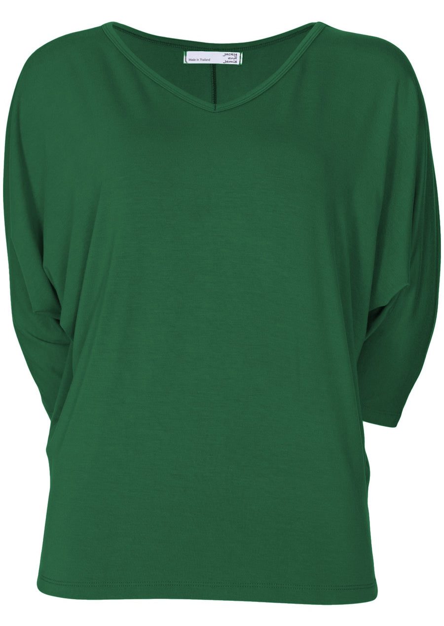 3/4 Sleeve V-neck Batwing Top Forest Green