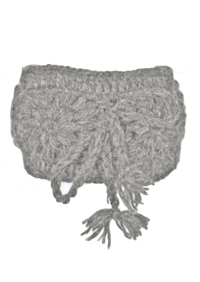 Crocheted Wool Headband Grey Marle