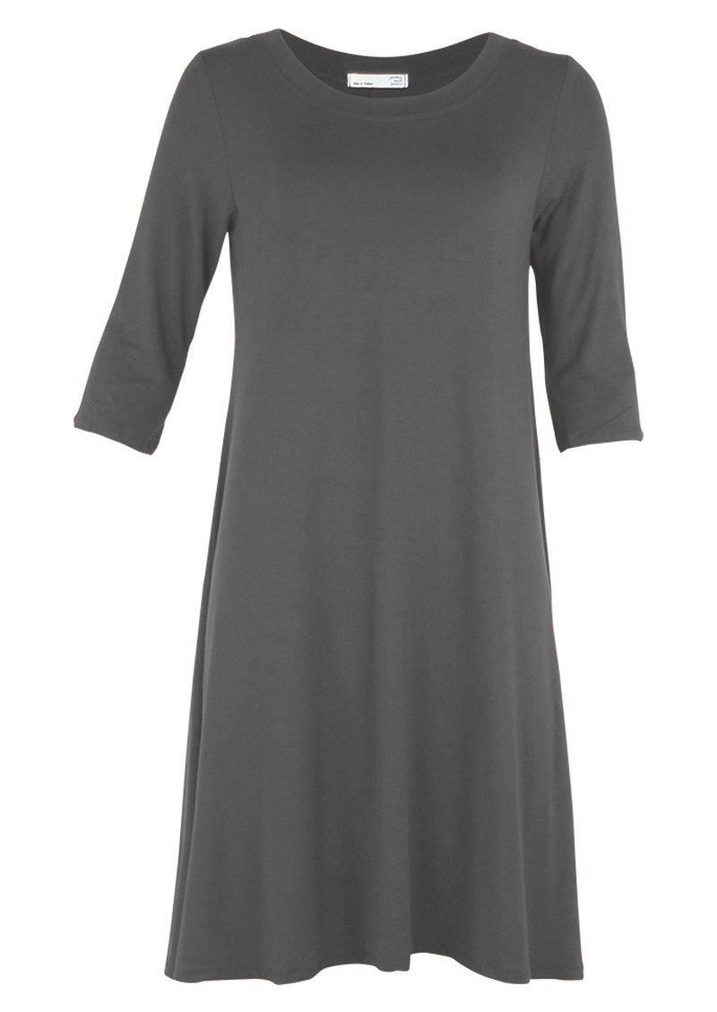 Half Sleeve Jersey Dress Dark Grey