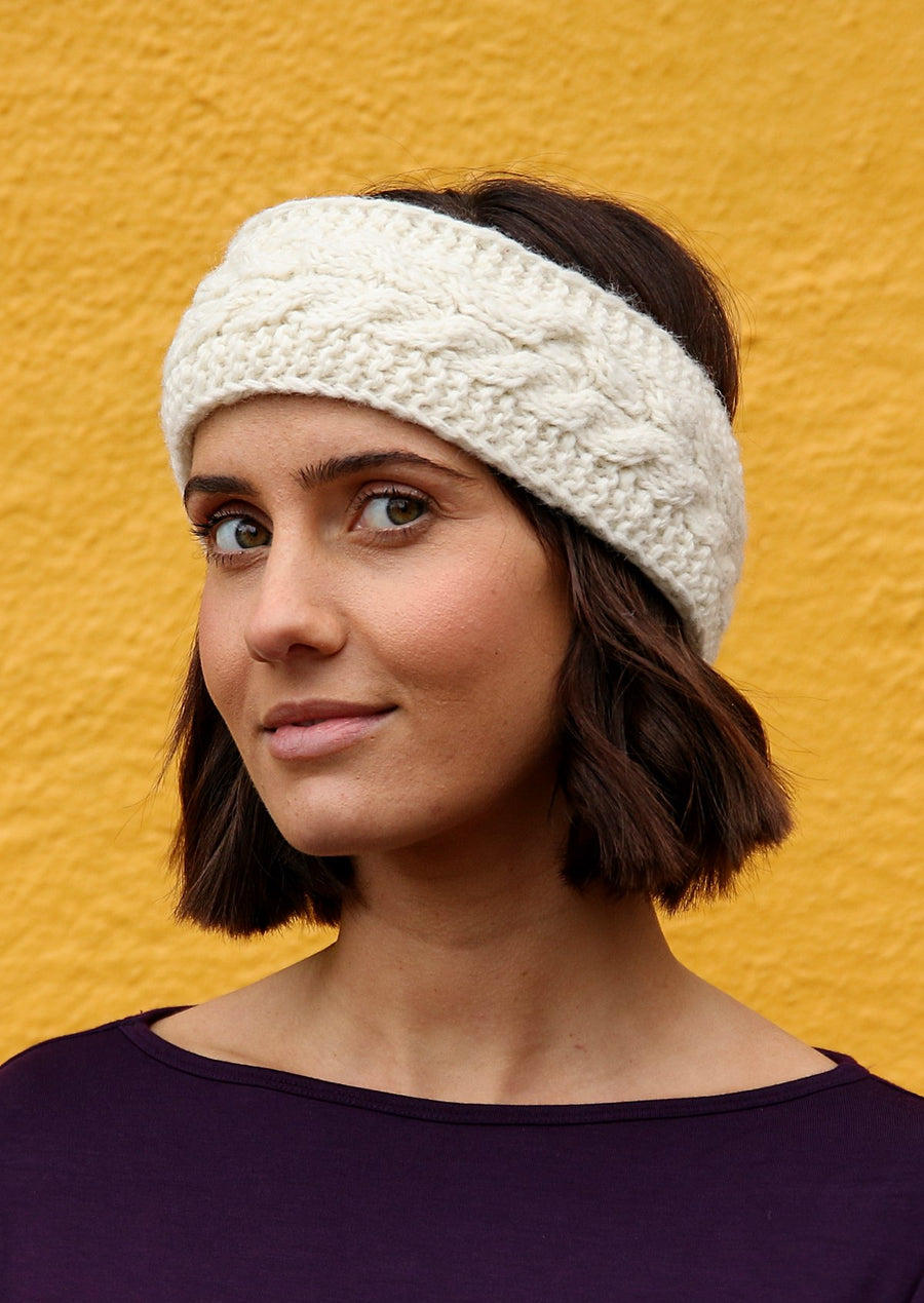 Knitted Wool Headband Natural