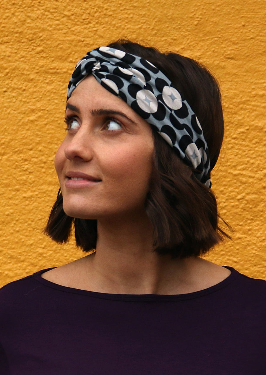 Turban Headband Retro Flower Black