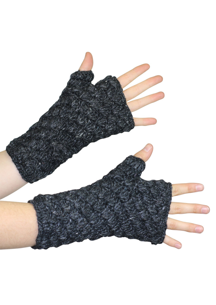 Knitted Wrist Warmers Charcoal