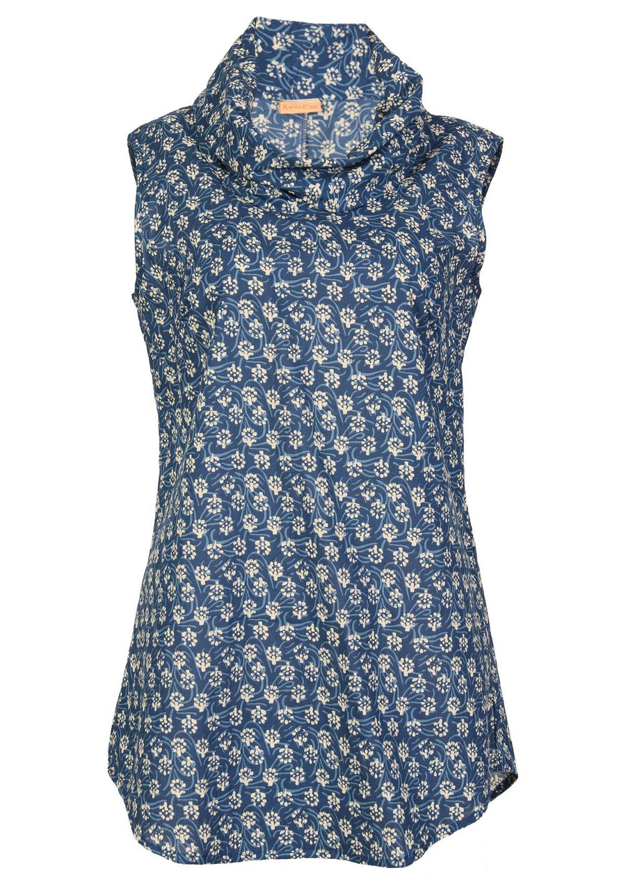 Cotton Cowl Neck Top Blue | Karma East Australia