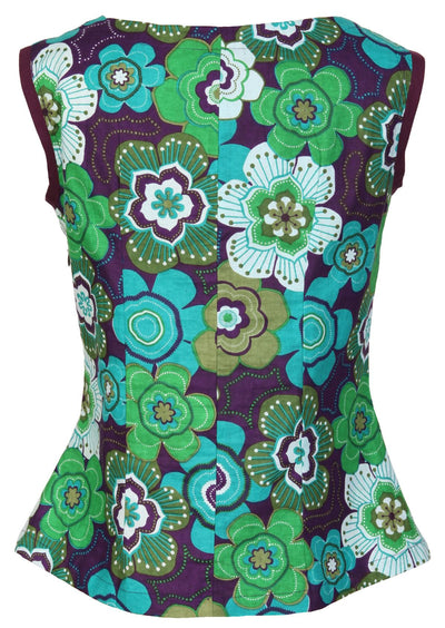 Shell Top Retro Flower Green