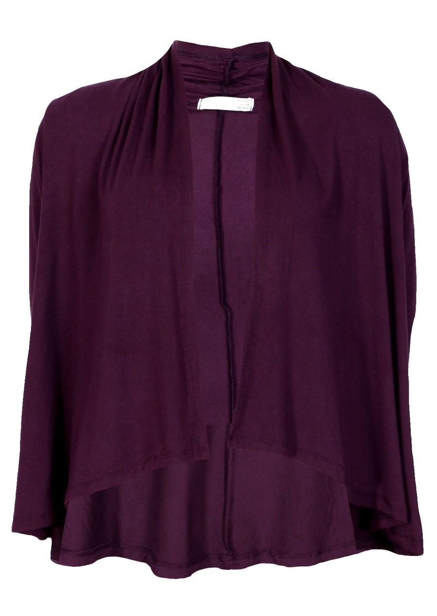 Cropped Waterfall Cardi Aubergine