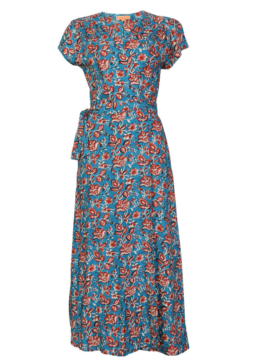 Boho Maxi Dress Rayon Francesca Johari Blue | Karma East Australia