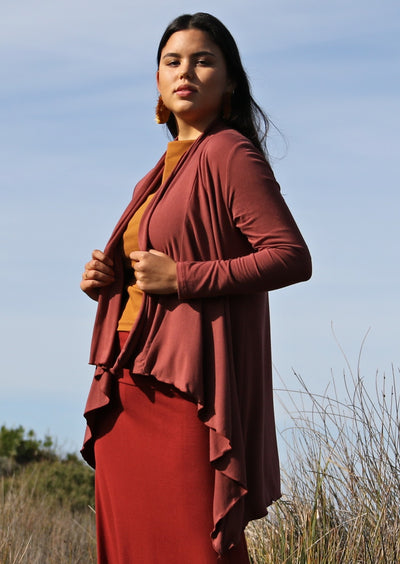 Irregular Hem Stretch Cardi Terracotta