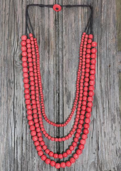 Layered Bead Necklace Red| Karma East Australia