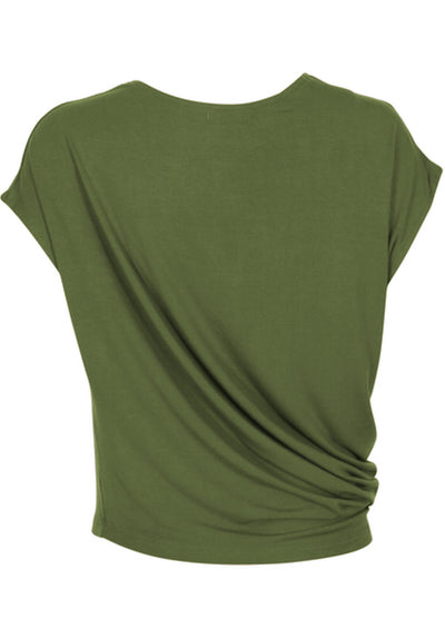 Asymmetrical Rayon Top Olive