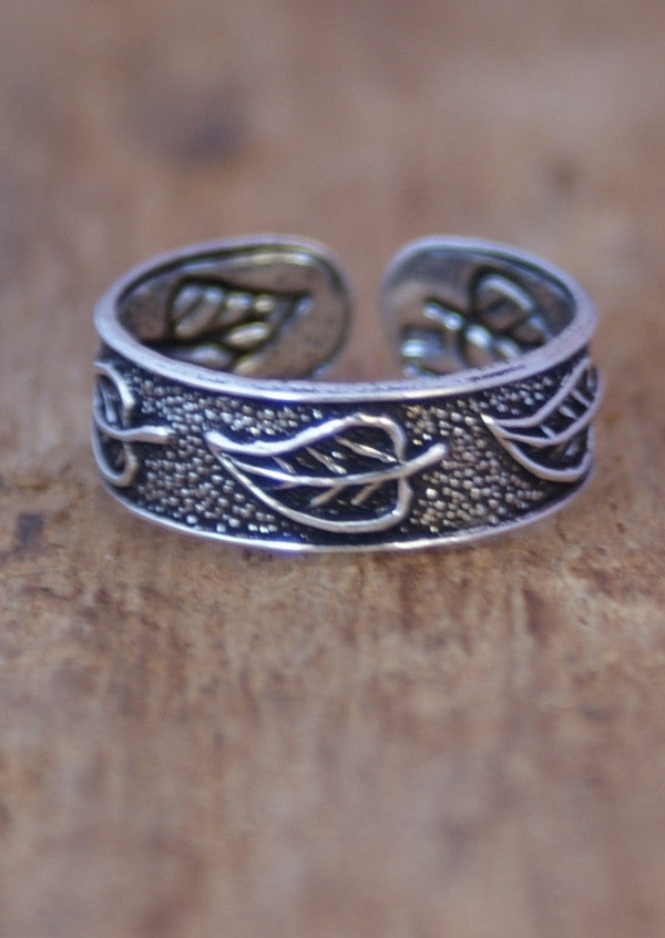 Silver Leaves Toe Ring