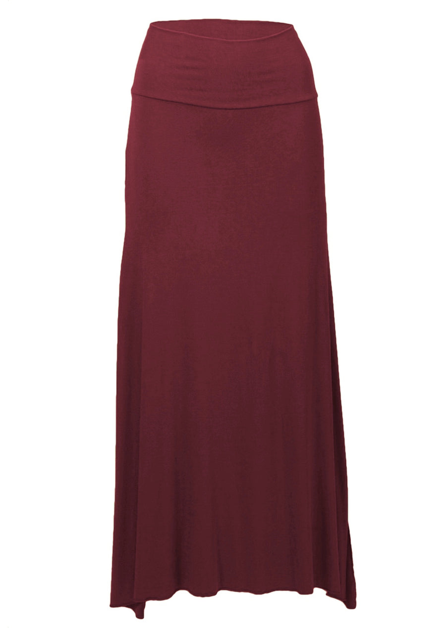 Long Stretch Skirt Maroon