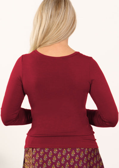 Stretch Rayon Long Sleeve Top Maroon
