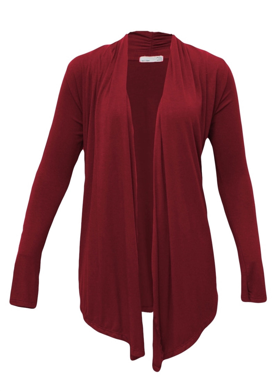 Long Sleeve Stretch Cardi Maroon