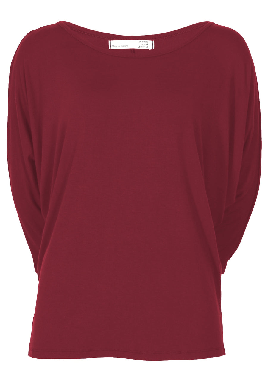 3/4 Sleeve Batwing Top Maroon