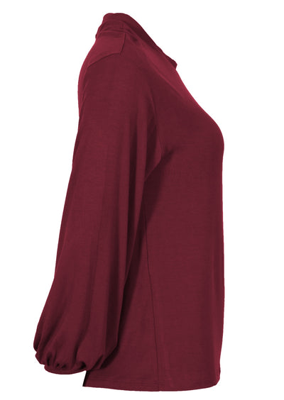 Lantern Sleeve Top Maroon