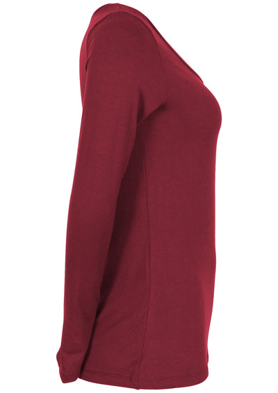 Long Sleeve Stretch V-neck Top Maroon