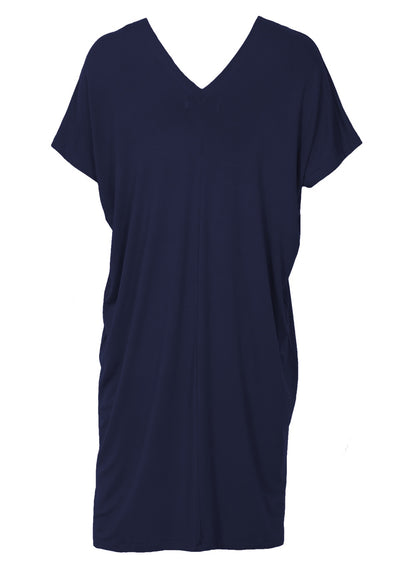 Jersey V-neck Dress Midnight