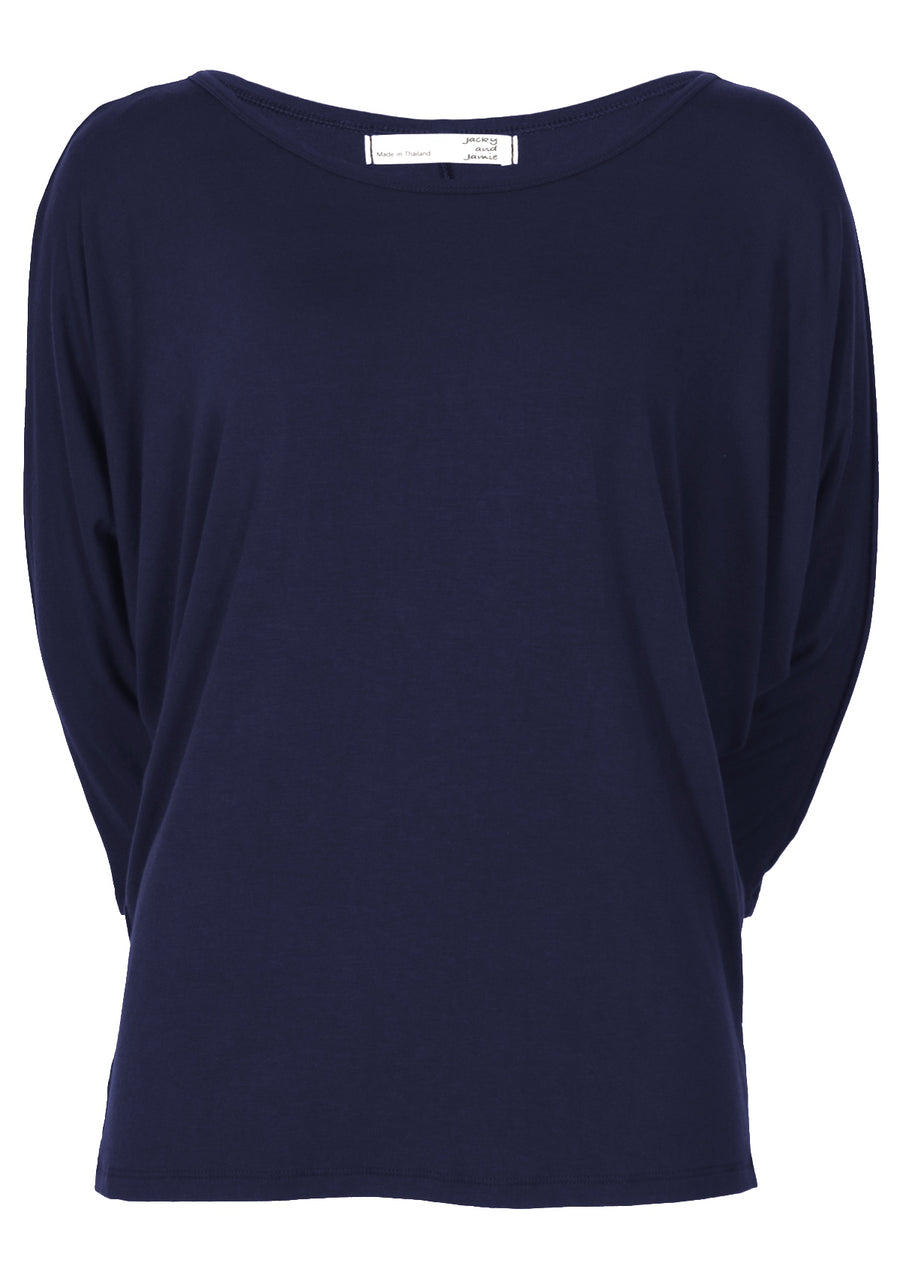 3/4 Sleeve Batwing Top Midnight