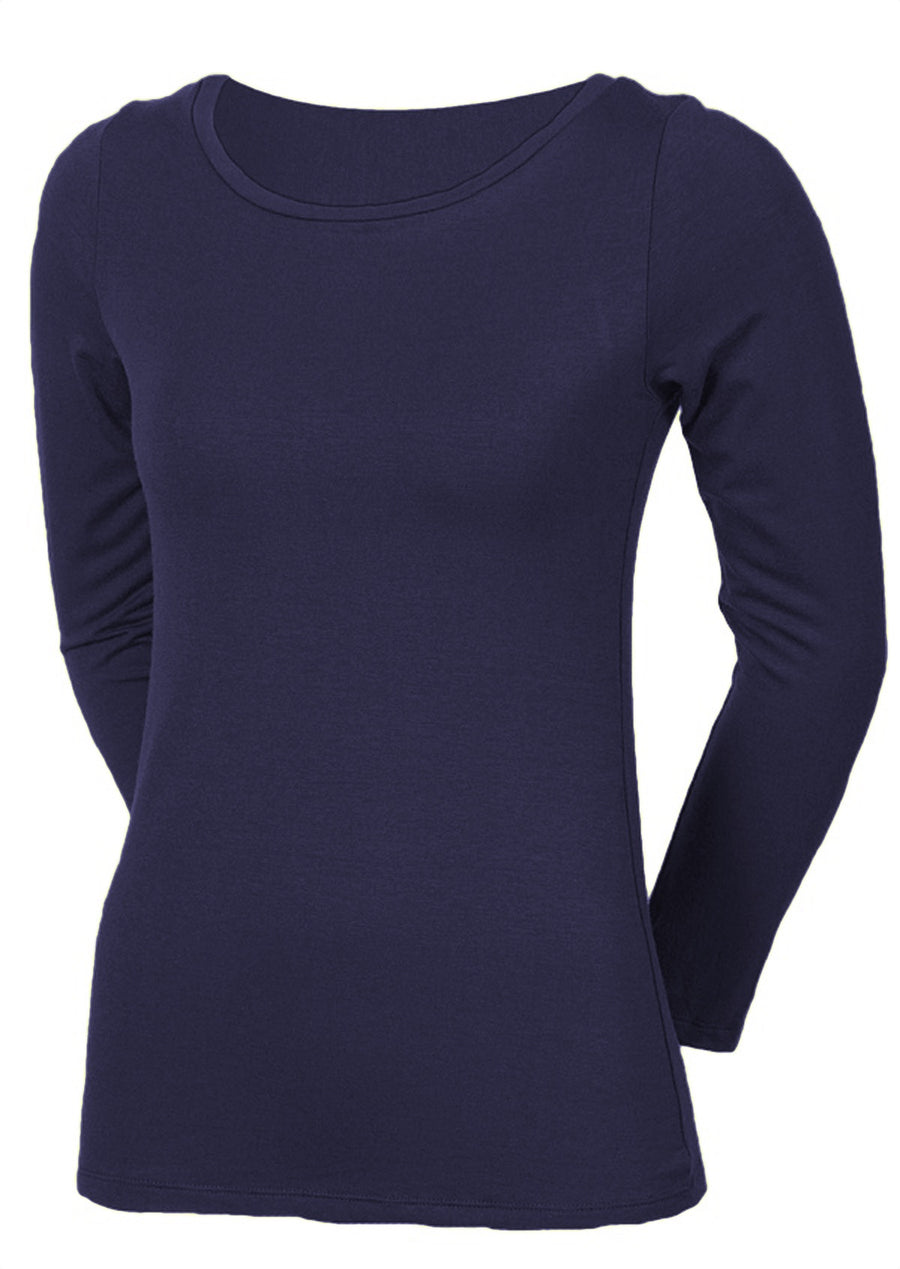 Stretch Rayon Long Sleeve Top Midnight