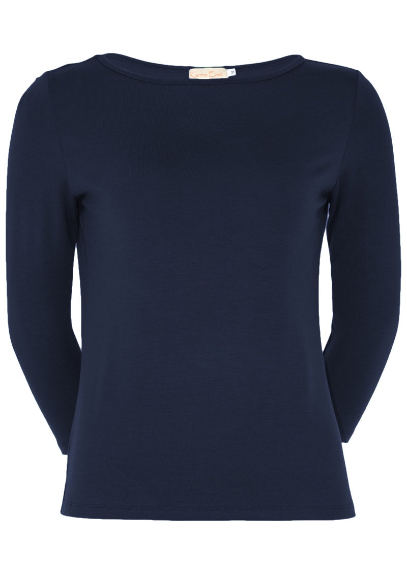 Fitted Boat Neck Top Midnight