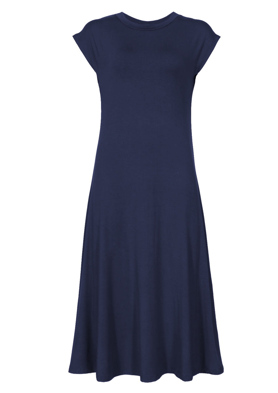 A-line Stretch Rayon Dress Midnight