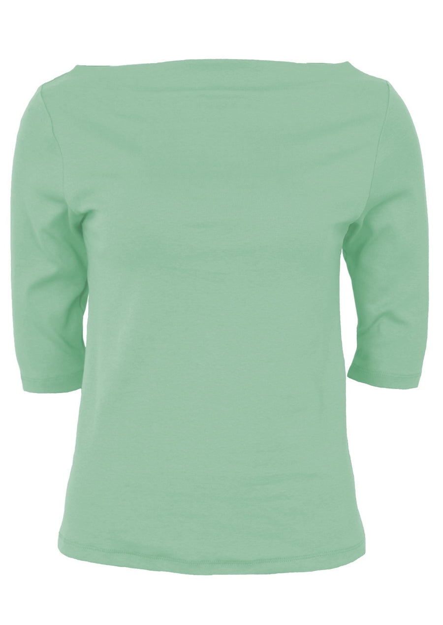Stretch Cotton Wide Neck Top Mint