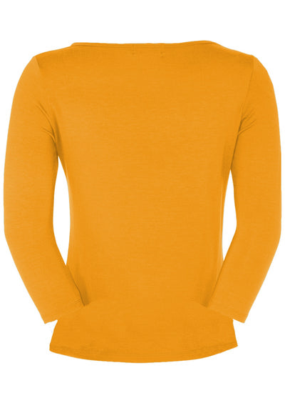 Fitted Boat Neck Top Mustard