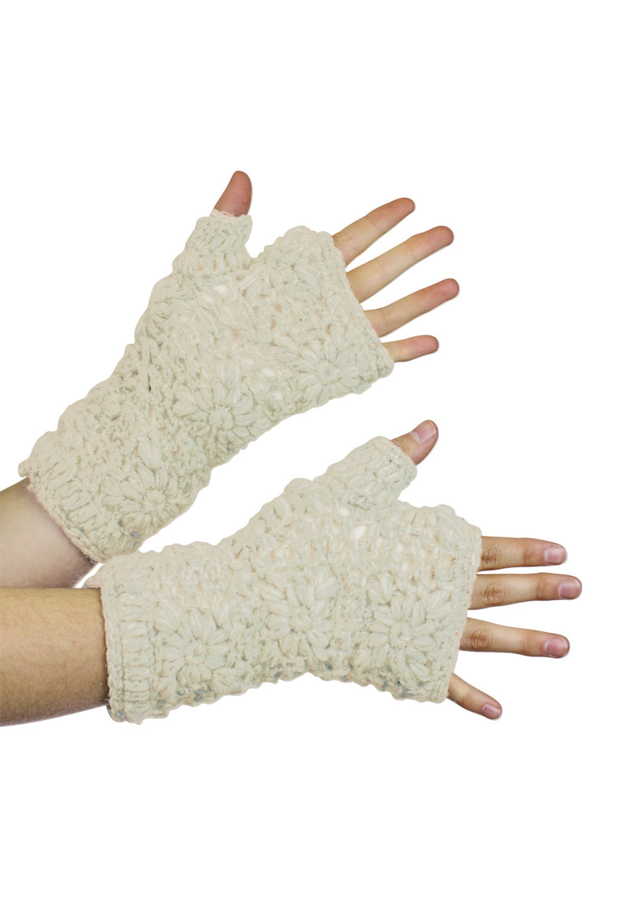 Crochet Wrist Warmers Natural