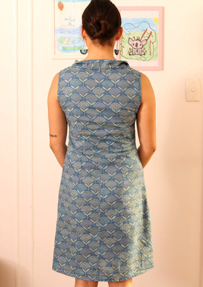 New Mod Tunic Fan Flower Blue