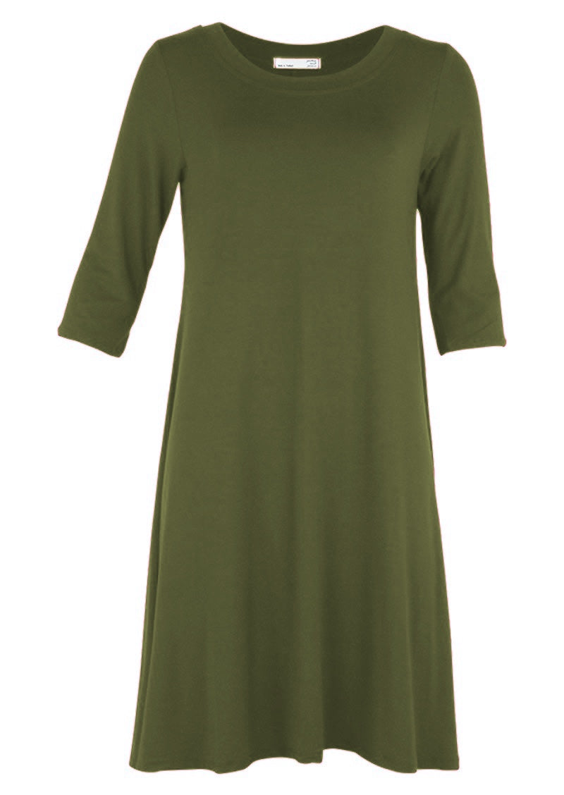 Half Sleeve Jersey Dress Olive