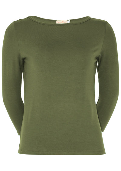 Fitted Boat Neck Top Olive