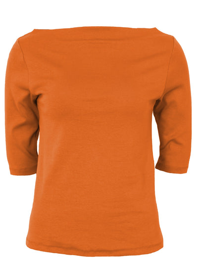 Stretch Cotton Wide Neck Top Orange