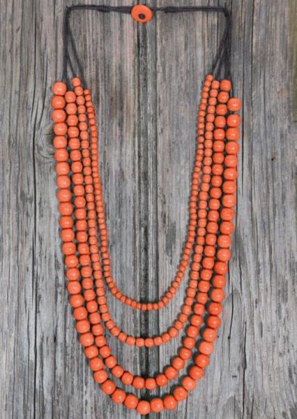 Layered Bead Necklace Orange | Karma East Australia