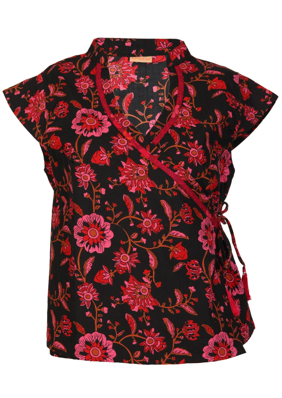 Cotton Wrap Top Black and Pink Floral | Karma East Australia