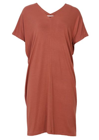 Jersey V-neck Dress Dusty Rose