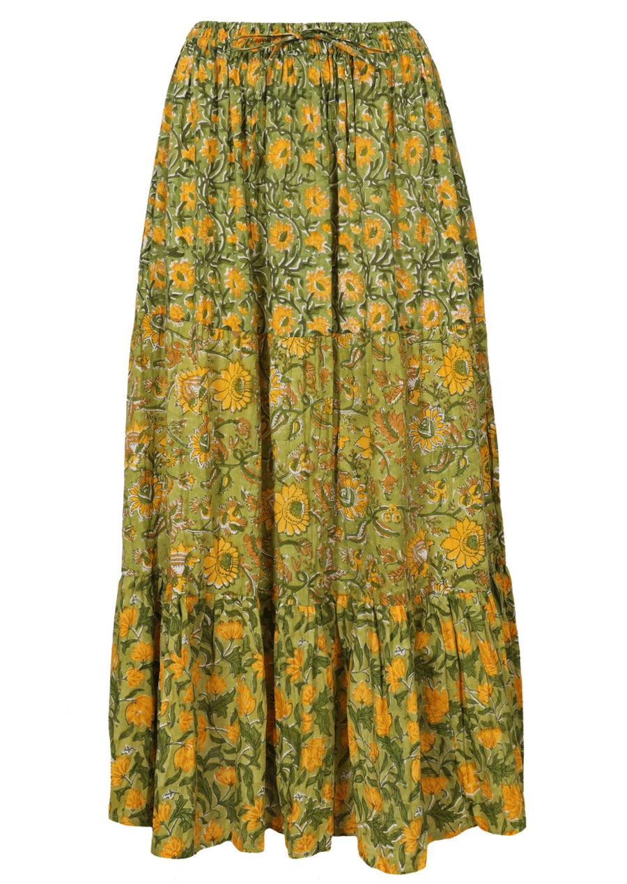 Block Print Maxi Skirt Green