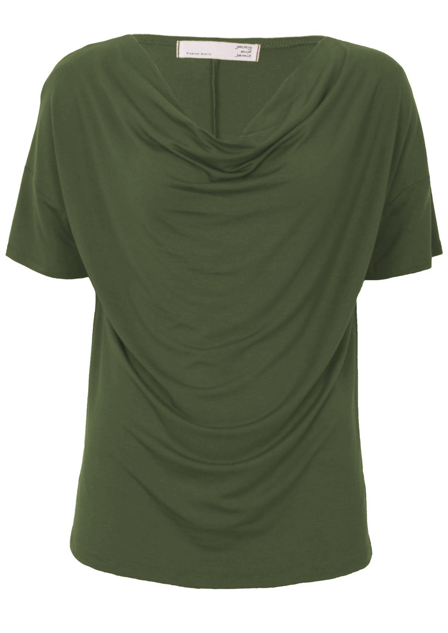 Short Sleeve Cowl Neck Top Olive