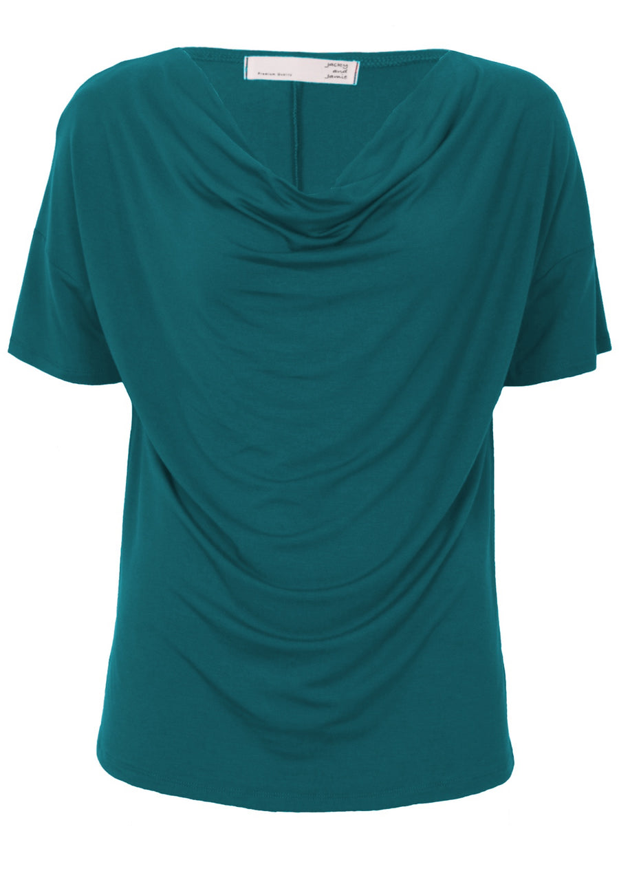 Short Sleeve Cowl Neck Top Teal