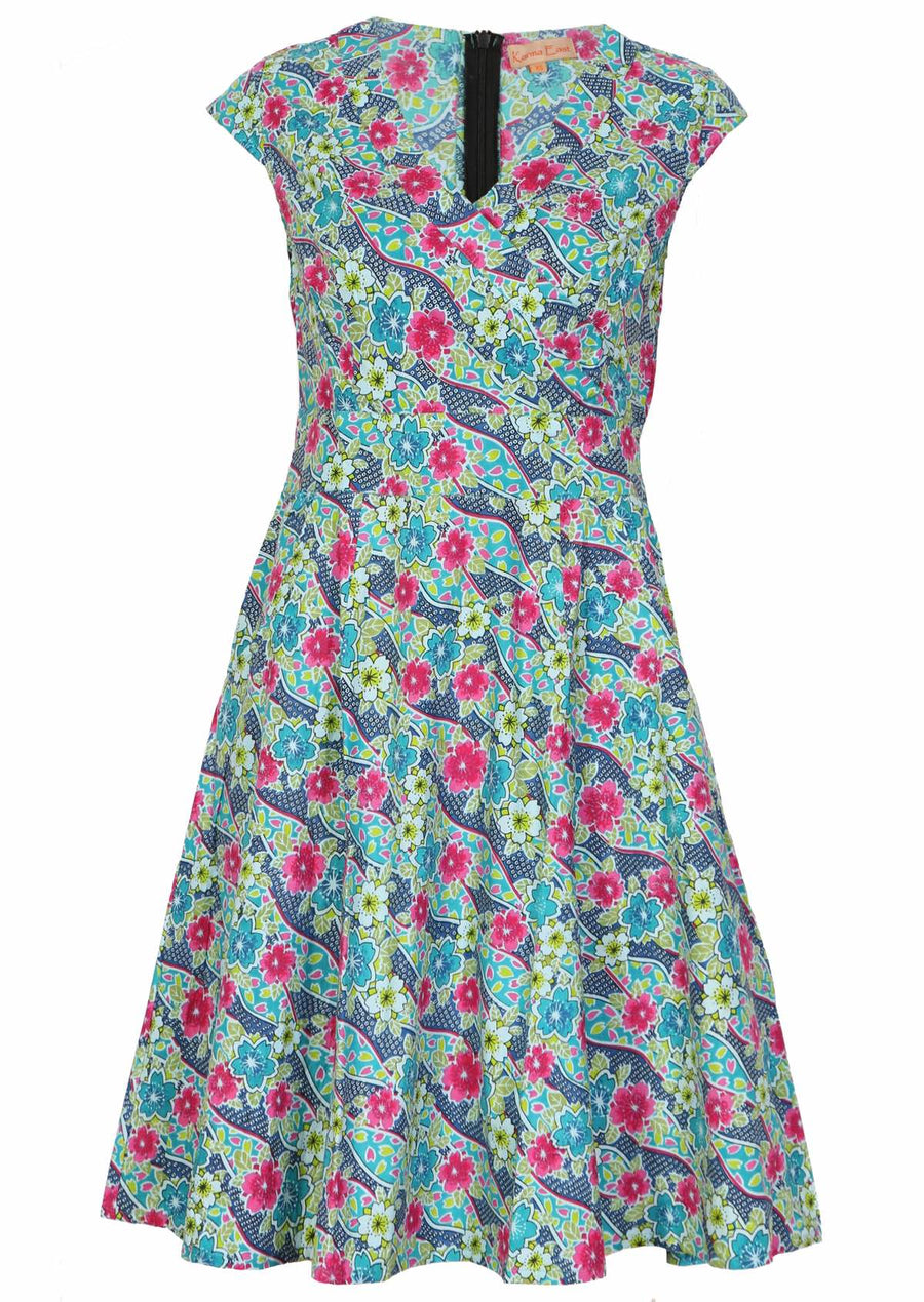 Alice Retro Vintage Style Cotton Dress Multi Colour | Karma East Australia
