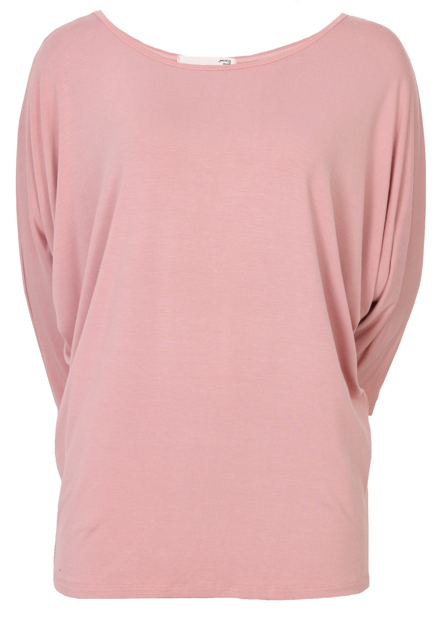 3/4 Sleeve Batwing Top Pale Pink