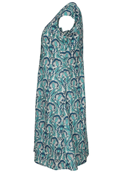 Kari Dress Fan Flower Green